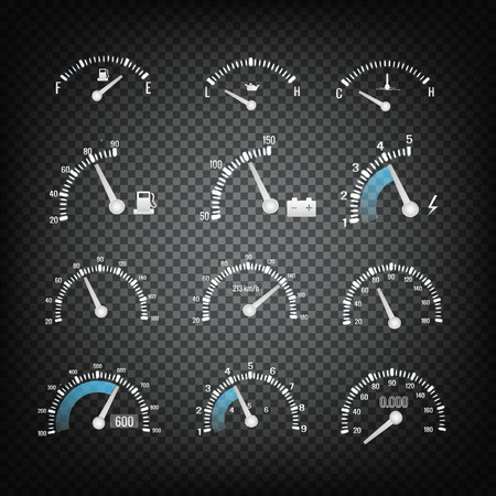 Car Dashboard Control Panel Elements Collection