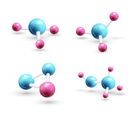 Conjunto de modelo de la molécula 3d Foto de archivo - 90279134