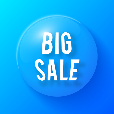 Water Drop With Big Sale Symbol Illustration on blue background