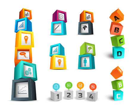 Business infographic design concept with colorful 3d cubes and icons on white background isolated vector illustration