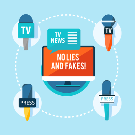 Mass media correspondent flat infographic concept.