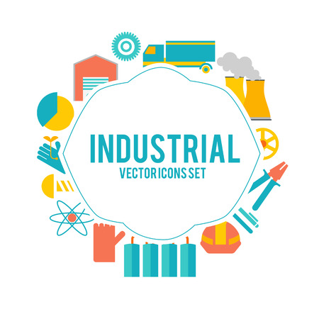 Design Decorative Set With Industry Objects Poster Stock Photo
