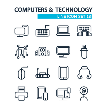 Technologie bekleed Icons Set