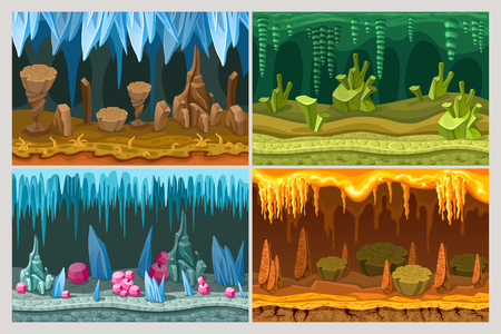Cartoon Game Cave Landscapes Set