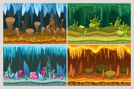 Jogo dos desenhos animados Conjunto de paisagens da caverna Foto de archivo - 90373805