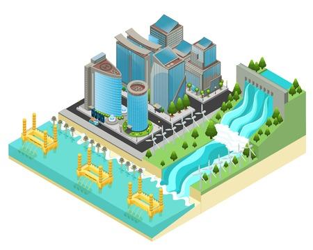 Isometrische Eco stad sjabloon