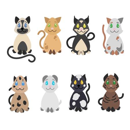 スケッチ面白いかわいい座っている猫のコレクション  イラスト・ベクター素材