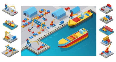 Isometric Sea Port Template Stock Vector - 90380312