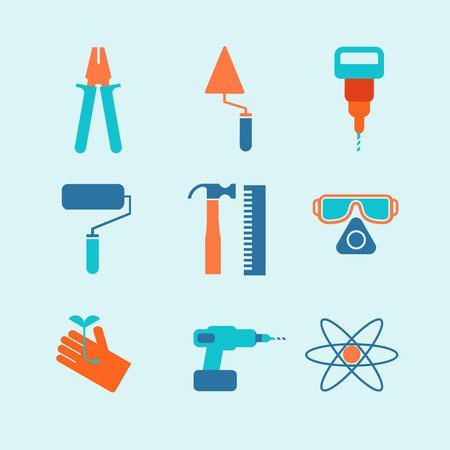 Set Of Nine Vector Icons On Blue Background Illustration
