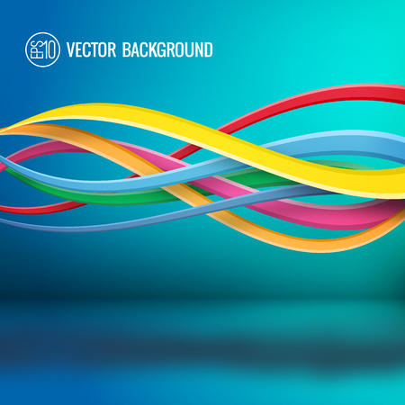 Abstract bright dynamic template with colorful wavy intersecting lines on turquoise background vector illustration Ilustração