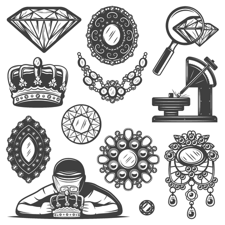 Vintage Jewelry Repair Service Elements Set Ilustrace