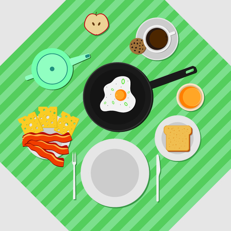 Flat Colorful Breakfast Concept