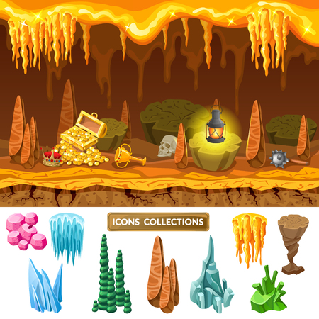 Colorful Isometric Game Treasure Cave Concept