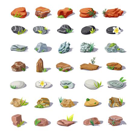 Cartoon kleurrijke stenen Set