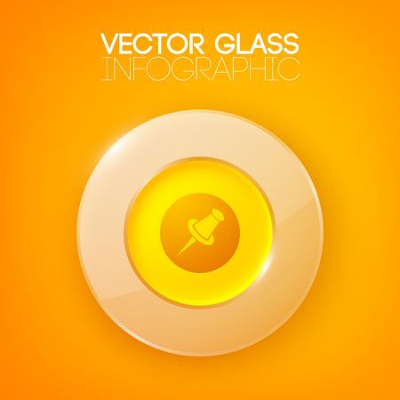 Glänzender Orange Hintergrund Mit Kreistaste Vektorgrafik
