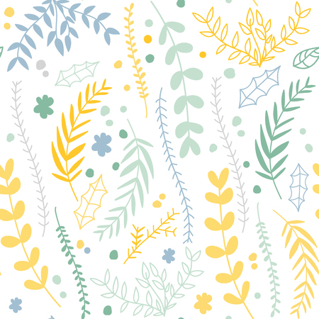 Floral Seamless Pattern With Linear Plants And Flowers Ilustracja
