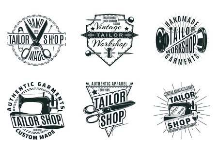Monochrome Vintage Tailor Shop Logos Set Archivio Fotografico - 91026055
