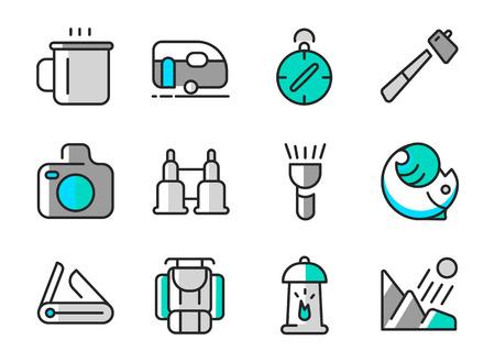 Summer Camp Icon Set Illustration