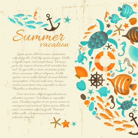 Summer vacation paper background in grunge style with marine icons and sea  inhabitants cartoon objects flat vector Illustration  Illustration