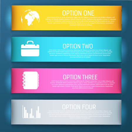 Four bright and colored isolated banner set with four steps of options vector illustration Çizim