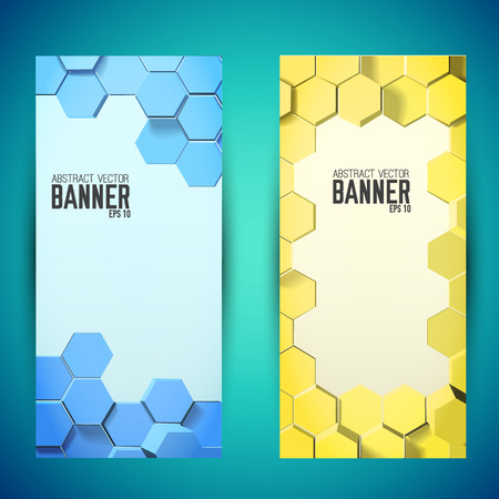 Abstract geometric mosaic vertical banners with blue and yellow 3d hexagons in honeycomb style isolated vector illustration