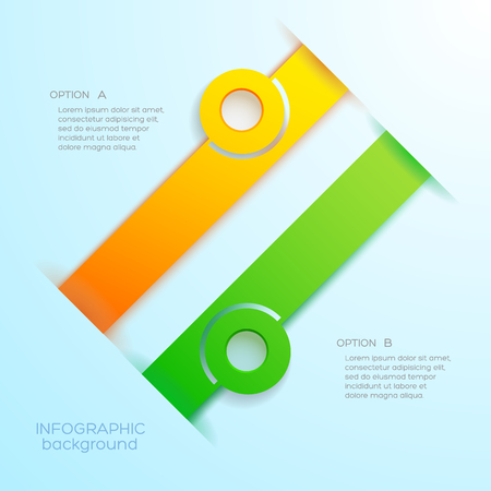 Web infographic abstract business concept with two orange and green banners. Illustration