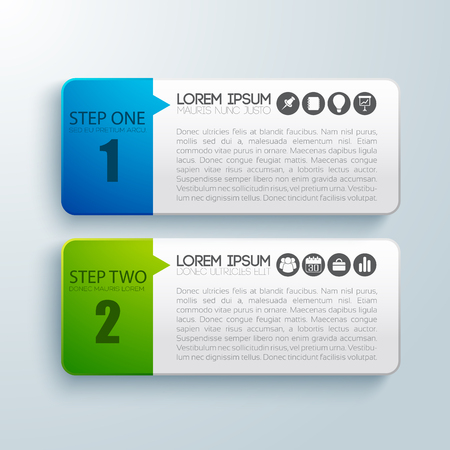 Business infographic paper concept with two horizontal banners described process for successful.
