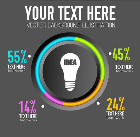 Web infographic design concept with round colorful edging bulb icon and percent rates illustration.