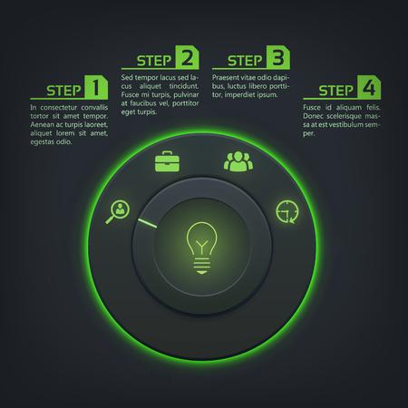 暗い背景ベクトルイラストのコントロールボタン緑色のバックライトとビジネスアイコンを持つインタラクティブなWebインフォグラフィック