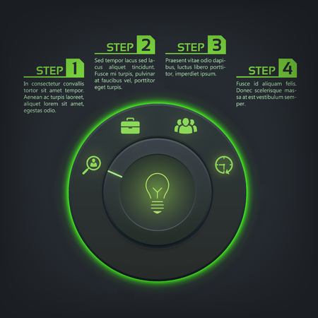Interactive web infographics with control button green backlight and business icons on dark background vector illustration