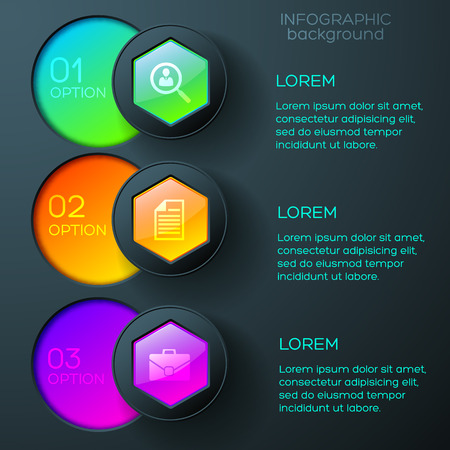 Abstract business infographics with icons colorful glossy hexagons and round buttons on dark background vector illustration Ilustrace
