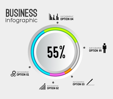 Abstract web business infographics with 5 options.