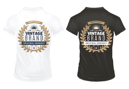 Vintage decorative elegant premium prints template with inscriptions and golden laurel wreath on shirts isolated vector illustration