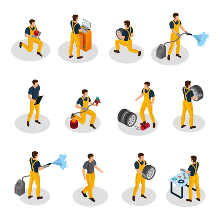 Isometric auto service people set with car painting diagnostic washing and tire changing procedures isolated vector illustration Illustration