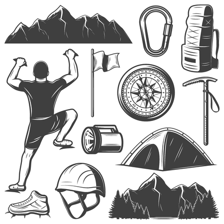 Vintage mountain climbing elements set with climber carabiner flag compass helmet lantern backpack pick camp footwear isolated vector illustration Illustration