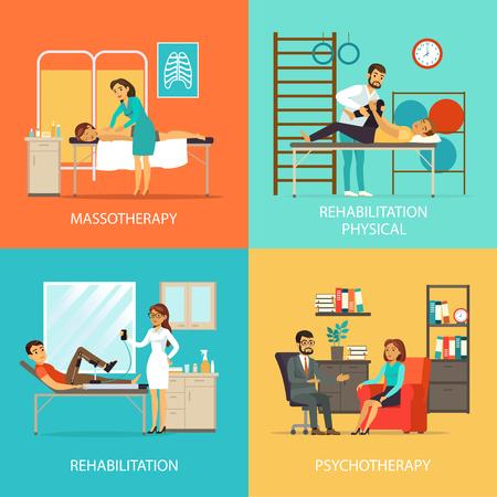 People Rehabilitation Square Concept Ilustracja
