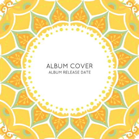 Colorful ornamental album cover template with round beautiful sun consisting of elegant leaves in yellow colors vector illustration