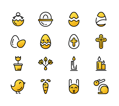 Monochrome set of easter yellow icons with eggs, animal, candle, cross and many different traditional elements and objects on the white background vector illustration Illustration
