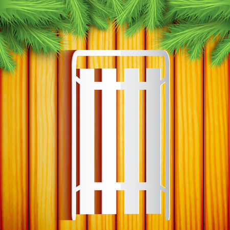 Fond de Noël design plat avec traîneau sur le mur en bois orné de branches de sapin vector illustration Banque d'images - 91370691