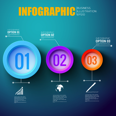 Network step by step infographic layout with three colorful option marking tags flat vector illustration