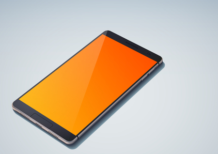 Realistic modern design cellphone concept with glossy orange blank divided on two halfs because of shadow isolated vector illustration Illusztráció