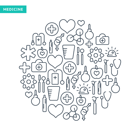Healthcare lined icons set with medical elements in round shape on white background isolated vector illustration Illustration