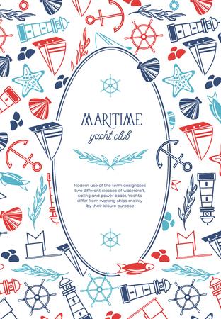 De ovale maritieme affiche van de jachtclub op witte achtergrond, vectorillustratie.