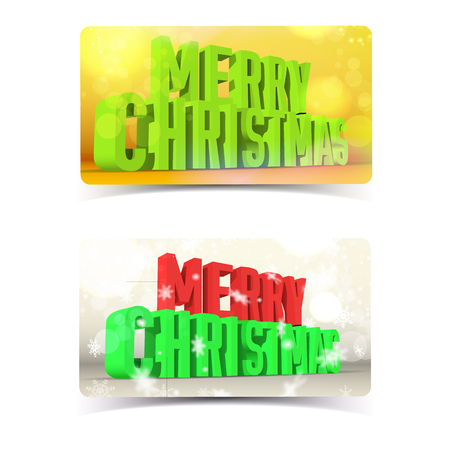 Colorful merry christmas banners set concept on colorful backgrounds with bokeh 3d isolated vector illustration