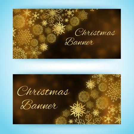異なるサイズと形状の雪片を持つ2つの水平クリスマスバナー。