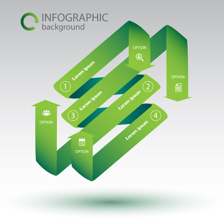 Business infographic design concept with green curved ribbon arrows and white icons isolated vector illustration