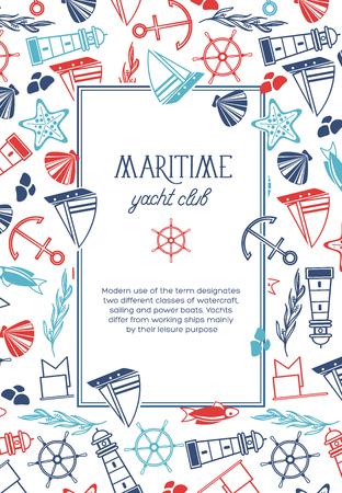Vierkant Yacht Club-poster Stock Illustratie