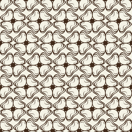 Monochrome Ink Seamless Pattern With Doodle Petals
