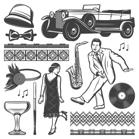 Vintage retro party elements set with dancing man and woman classic car, female headgears, mouthpiece, wineglass, vinyl and saxophone isolated vector illustration