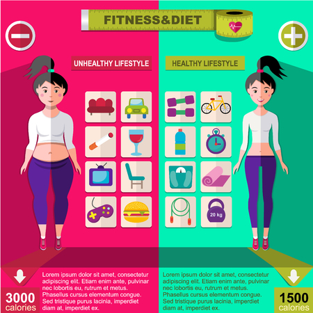Flat Fitness Infographic Template. Illustration
